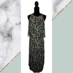 Ellen Tracy Green Maxi Dress With CutOut Shoulders